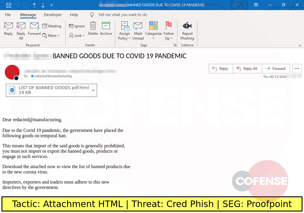 Real Phishing Example: This Coronavirus-themed attack delivers an HTML attachment that spoofs Adobe to steal credentials.
