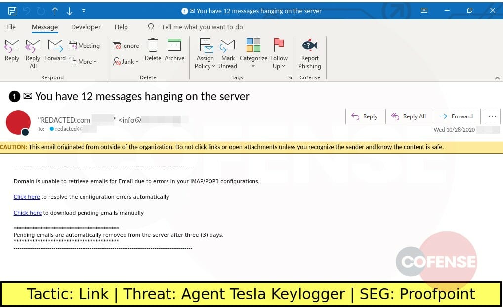Real Phishing Example: Notification-themed emails found in an environment protected by Proofpoint deliver Agent Tesla keylogger via embedded URLs. The embedded URLs download a GZ archive that contains an Agent Tesla executable.