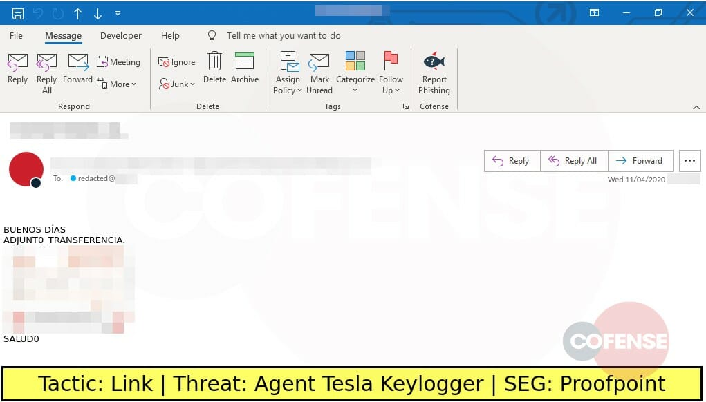 Real Phishing Example: Finance-themed emails found in environments protected by Proofpoint deliver Agent Tesla Keylogger via embedded URLs.Note: These emails are in Spanish.