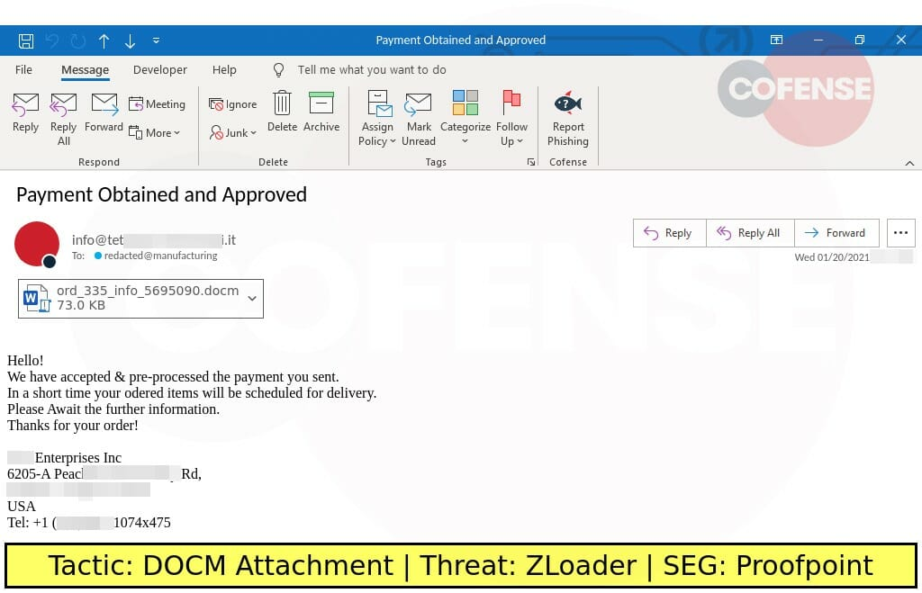 Real Phishing Example: Finance-themed emails found in environments protected by Proofpoint deliver ZLoader via malicious Office macros.