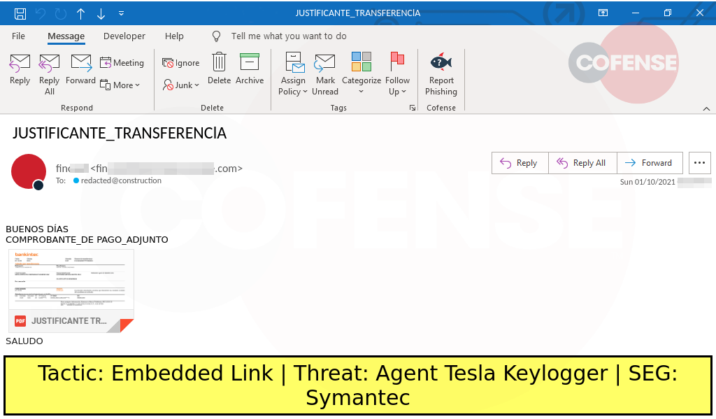 Real Phishing Example: Finance-themed emails found in environments protected by Symantec deliver Agent Tesla keylogger via an embedded URL.