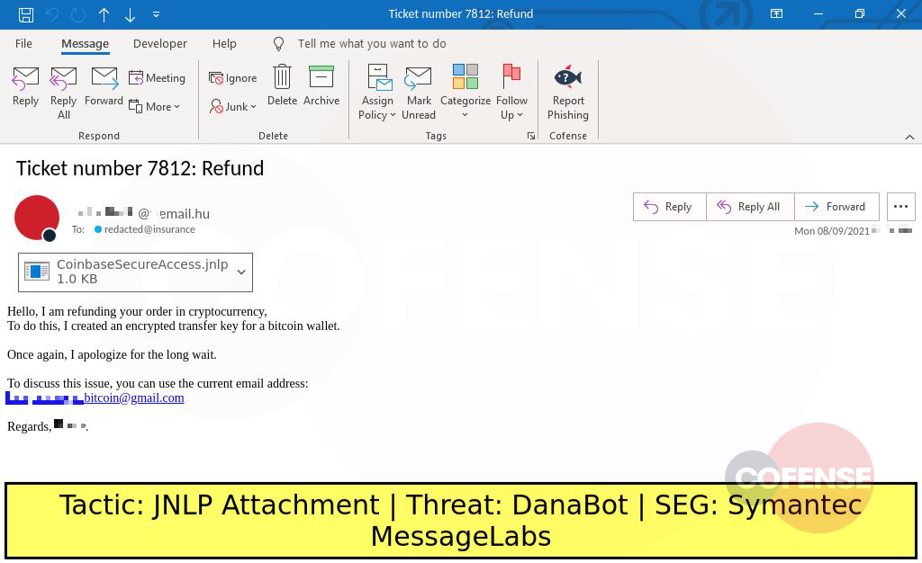 Real Phishing Example: Refund-themed emails found in environments protected by Symantec MessageLabs deliver DanaBot via a JNLP Shortcut to JAR Downloader download chain.
