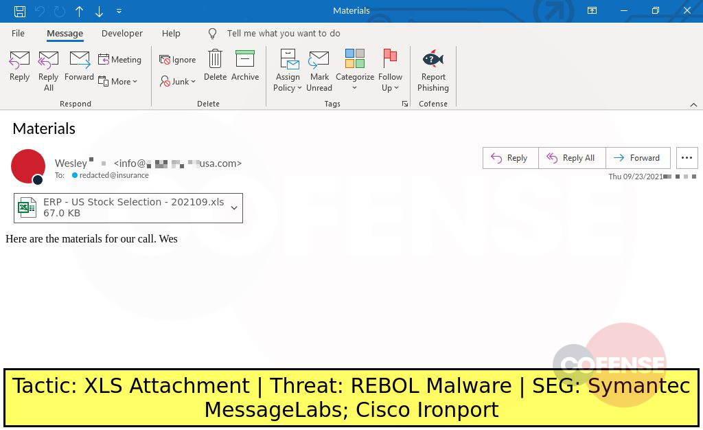 Real Phishing Example: Information-themed emails found in environments protected by Symantec MessageLabs and Cisco Ironport deliver REBOL malware via malicious Office macros.