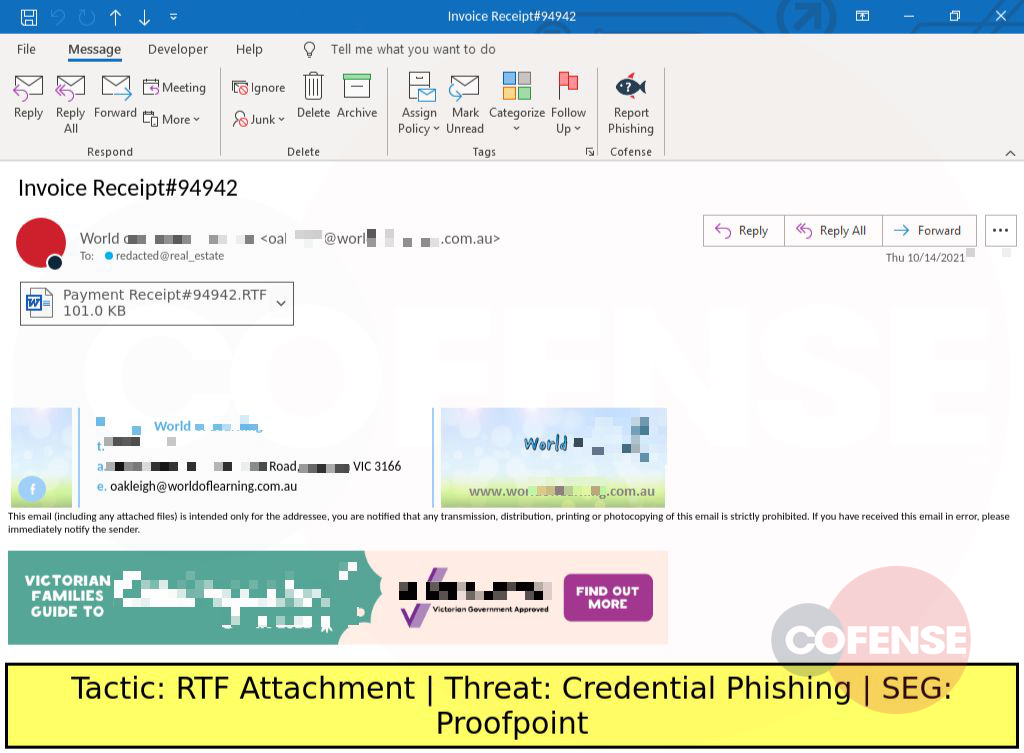 Real Phishing Example: Finance-themed emails found in environments protected by Proofpoint deliver an attached RTF Office document. The document contains a link to download an HTML file which contains embedded credential phishing content.