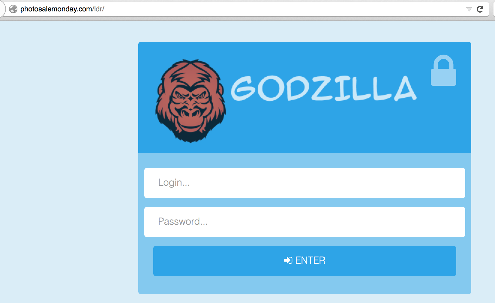 Figure 2 Godzilla panel login featuring an angry gorilla face